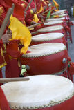 Chinese drums. Many people are beating Chinese drums Stock Photos