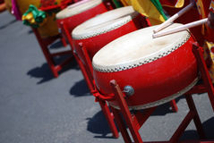 Chinese drums. Many people are beating Chinese drums Royalty Free Stock Photography