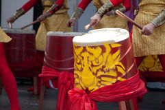 Chinese Drums. Performers playing drums at Asian ethnic festival Stock Photos