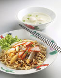 Chinese dry noodle. With roast red pork Stock Photos
