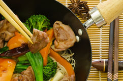 Chinese duck wok stir fry with hoisin sauce Royalty Free Stock Image