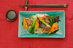 Chinese duck wok stir fry with hoisin sauce Stock Photo