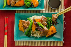 Chinese duck wok stir fry with hoisin sauce Stock Images
