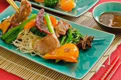 Chinese duck wok stir fry with hoisin sauce Royalty Free Stock Images