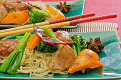Chinese duck wok stir fry with hoisin sauce Stock Photos