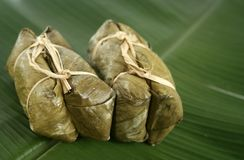Chinese dumplings. Asian dumplings on banana leaf royalty free stock image
