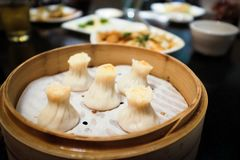 Chinese Dumplings in a Bamboo Steamer royalty free stock photography