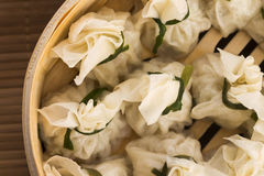 Chinese dumplings in bamboo steamers Royalty Free Stock Images