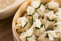 Chinese dumplings in bamboo steamers Stock Image