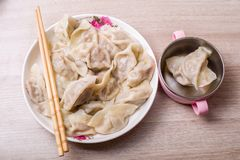Chinese dumplings. Jiaozi, traditional food for Chinese New Year festival Stock Photos