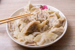 Chinese dumplings. Jiaozi, traditional food for Chinese New Year festival stock image