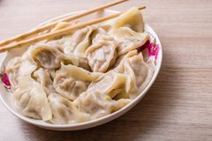 Chinese dumplings. Jiaozi, traditional food for Chinese New Year festival Royalty Free Stock Photos