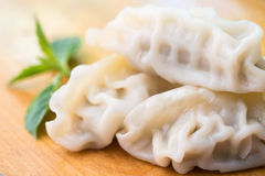 Chinese dumplings or Jiaozi with chopstick Stock Photography