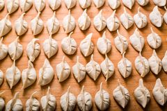 Chinese dumplings. These Chinese dumplings jiaozi are traditionally eaten during Chinese New Year Royalty Free Stock Photo