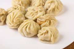Chinese dumplings - Momo. Stuffed prawn, chicken, beef or pork stock images
