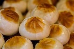 Chinese dumplings, panfried. Closeup of Chinese dumplings, panfried stock photo