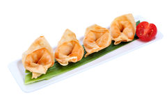 Chinese dumplings on plate , in a row, over white background. stock images