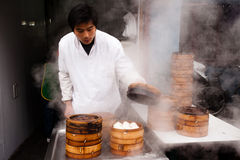 Chinese dumplings street vendor Royalty Free Stock Image