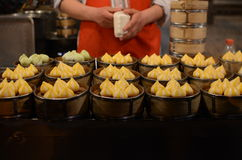 Chinese dumplings. On the traditional bamboo pan Stock Images