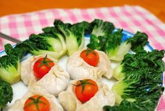 Chinese dumplings and vegetables Royalty Free Stock Photos