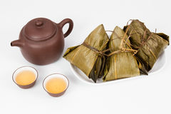 Chinese  Dumplings, Zongzi in White Background Stock Images