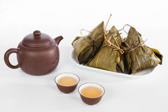Chinese  Dumplings, Zongzi in White Background Stock Photos
