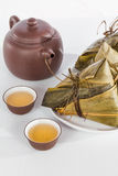 Chinese  Dumplings, Zongzi in White Background Royalty Free Stock Images