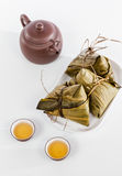 Chinese  Dumplings, Zongzi in White Background Stock Image