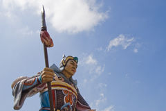 Chinese dynasty warrior statue. Dynasty warrior statue medium shot Royalty Free Stock Image