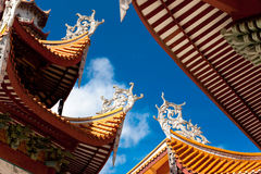 Chinese eaves of temple. Chinese eaves under blue sky in the temple of Xichan,Fuzhou,China Royalty Free Stock Photos