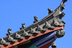 CHINESE EAVES OF TEMPLE. Chinese eaves under blue sky in the temple of Xichan,Fuzhou,China Stock Image