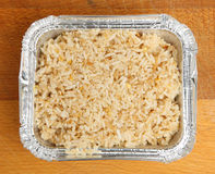 Chinese Egg-Fried Rice in Foil Tray Royalty Free Stock Photography