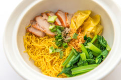 Chinese egg noodle with barbecue pork Stock Photo