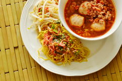 Chinese egg noodle and spicy pork ball with dried shrimp soup Royalty Free Stock Photo