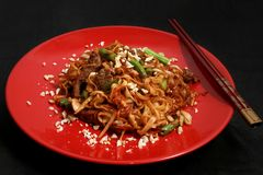 Chinese egg noodles with beef under oyster sauce. stock photography
