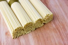Dry egg noodles. Chinese egg noodles close-up Royalty Free Stock Image