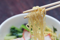 Chinese egg noodles with red pork Stock Photography
