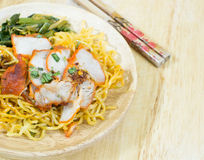 Chinese egg noodles. With red pork and vegetables Stock Images