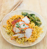 Chinese egg noodles. With red pork and vegetables Royalty Free Stock Image