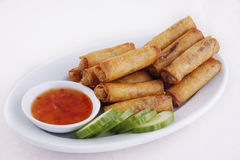 Chinese EGG ROLL / Lumpiang shanghai. CHINESE /FILIPINO DISH  LUMPIANG SHANGHAI in Tagalog. Cooked for all occasions Stock Photo