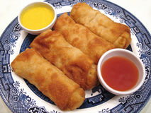 Chinese Egg Rolls. Photo of Chinese egg rolls served with mustard sauce and plum sauce stock photography