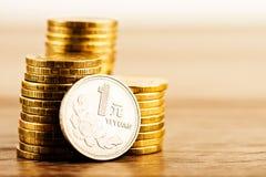 Chinese ein Yuan Coin- und Goldgeld auf dem Schreibtisch Pfingstrosenblume d Stockfotografie