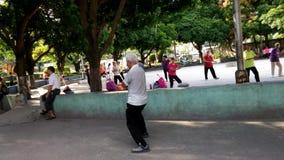 Chinese elderly practice Taijiquan Exercise stock video
