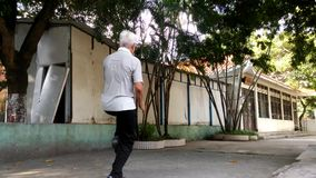 Chinese elderly practice Taijiquan Exercise stock video footage