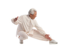 Chinese Elderly Woman Performing Tai Chi Royalty Free Stock Photos