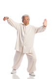 Chinese Elderly Woman Performing Tai Chi Stock Photography