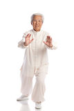 Chinese Elderly Woman Performing Tai Chi Stock Images