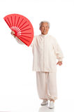 Chinese Elderly Woman Performing Tai Chi Stock Image