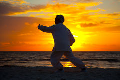 Chinese Elderly Woman Performing Taichi Outdoor Morning Stock Image