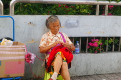 Chinese elderly women in the streets Stock Image